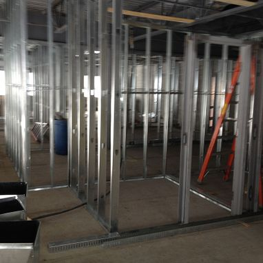 Wall framing on commercial site